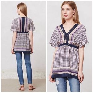 Anthropologie Meadow Rue Silk Scarf Tunic Blouse L